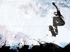 Pintura Ilustración Sport Patineta Jump Aire Abstracto impresión Cartel mp3189a