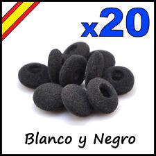 20 ALMOHADILLAS DE ESPUMA AURICULARES NEGRO BLANCO 18 MM ESPONJA AURICULAR