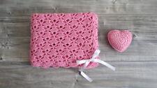 Copertina Neonata Rosa con Cuore ad Uncinetto 100% Cotone - Idea Regalo Nascita