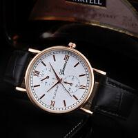 Retro Design Leather Band Analog Alloy Quartz Wrist Watch Men Wristwatch ya