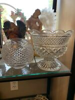 Antique Early 1900s Fine Crystal - Rose Bowl And Footed Bowl Vase.