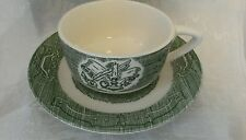 Vtg Royal China USA The Old Curiosity Shop Green Cup & Saucer Farmhouse Cottage