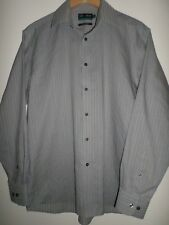 """MARKS & SPENCER ULTIMATE NON IRON PURE COTTON GREY STRIPED SHIRT SIZE 15.5"""" (39-"""