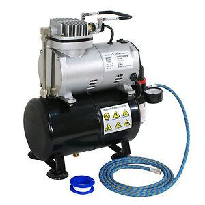 Airbrush Air Compressor Includes Pressure Regulator With Gauge,1/5 HP 6 FT Hose