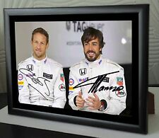 Jenson Button & Fernando Alonso F1 World Champion  Framed Canvas Print Signed.