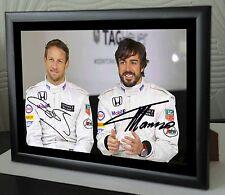 Jenson Button & Fernando Alonso F1 Campeón del Mundo Enmarcado Lona impresión firmada.