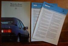 MERCEDES BENZ 190D & 190D 2.5 orig 1986 UK Mkt Sales Brochure + Spec Sheets