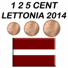 1 + 2 + 5 CENT 2014 LETTONIA LATVIA LETTLAND LETONIA LETTONIE LETÔNIA FDC BU