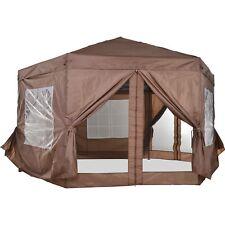 Garden Gazebo Tent Metal Adjust Sunshade Party w/ Zippered Net 4x4m