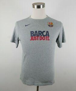 FCB Barca Soccer Futbol Boys Short Sleeve Crew Neck Gray T Shirt Nike Youth XL