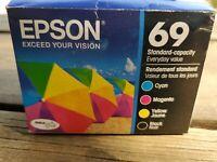 Genuine Epson 69 Combo Black, Cyan, Magenta & Yellow Ink Cartridges 6/2020