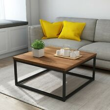 CLIVE Mid-Century Style Walnut Color Coffee Table Side Table & Black Metal Frame
