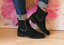 Ladies Womens Low Block Heel Chunky Diamante Chelsea Ankle Boots Shoes Size