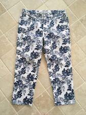 SPORTSCRAFT WOMENS SIMONE CROP STRAIGHT LEG JEAN FLORAL, BLUE/WHITE SIZE 10 #840