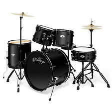 Open Box - 5-Piece Black Full Size Pro Adult Drum Kit with Genuine Remo Heads