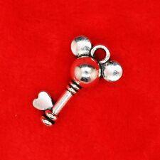 8 x Tibetan Silver 3D Disney Mickey Mouse Key Charm Pendants Jewellery Making