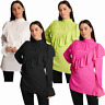 Ladies Womens Office Work Top Ruffled Frill Polo Neck Long Sleeve Blouse Shirt