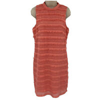 J. Crew Dress Size 6 Pink Coral Fringe Lace Crochet Sleeveless Mock Neck $138