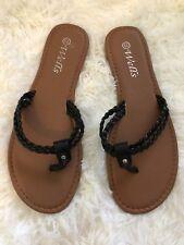 Women's Fashion Braided Strappy Black Flip-Flop Flat Sandal 7.5