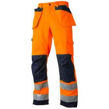 Hi Vis Orange/Navy Work Trousers with Corder Knee Pockets