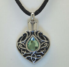 TEAR CREMATION URN NECKLACE GREEN PERIDOT CZ CREMATION JEWELRY TEAR MEMORIAL