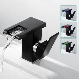 LED Bathroom Taps Waterfall Basin Mixer Tap Brass Modern Washroom Faucet //