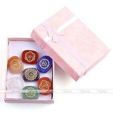 7 Engraved Chakra Stones Crystal Reiki Healing Energy Palm Stone With Box Gift