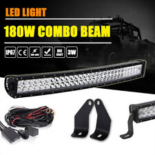 "For 2006-2010 Hummer H3 30"" 32 Inch Curved LED Light Bar +Hidden Bumper Brackets"