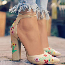 Women Floral High Heels Pumps Sandal Ankle Strap Pointed Toe Print Wedding Shoes