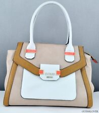 NWT Handbag GUESS Keita Satchel Bag Sand Multi
