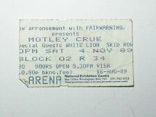 Motley Crue Concert Ticket Stub Nov 1989 nec Birmingham UK