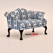 Queen Anne Love Seat sofa for 1:12 Scale dollhouse miniature wood blue
