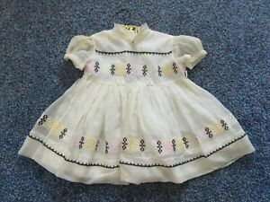 Girls Sheer Embroidered Party Dress Vintage by LOVE Nylon Baby Doll Toddler