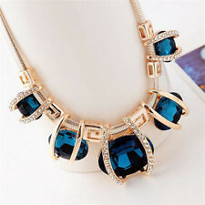 Fashion Womens Blue Crystal Pendant Choker Collar Chain Statement Bib Necklace