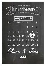 Personalised chalkboard style our anniversary wedding print gift calendar print