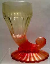 Vintage L E Smith Red Amberina Glass Cornucopia Cup Vase Ribbed Carnival Old
