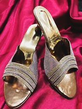 D8 Size 5 Ladies Indian Bollywood Fancy Bridal Shoes Heels Sandals Gold Silver