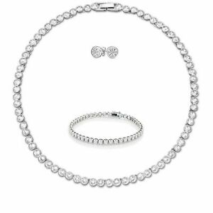 Tennis Necklace Earrings Rhodium Bridal Bracelet Set Swarovski Inspired 3pc UK