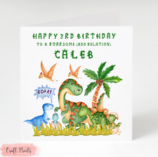 Personalised Dinosaur Birthday Card 1st 2nd 3rd 4th 5th Boy Son Nephew Grandson