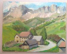 Tableau peinture huile paysage village de montagne les Alpes savoie 1940-60