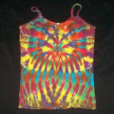 Tie Dye Cami Tank Top XL Wild Rainbow Hand Tye Dyed Hippie Spaghetti Strap