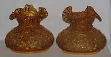 """A Perfect Pair Of Fenton Lamp Shades Amber Poppy Pattern 7"""" Fitter"""