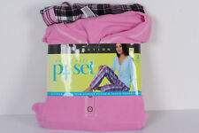 New Kenneth Cole Pajama Set Pink Waffle Henley Flannel Pants M 8 10 Reaction