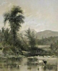 North Conway, NH. Saco River, Artist Creek, Cows, Vintage 1866 Antique Art Print