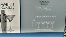 MARQUIS BY WATERFORD VINTAGE MARTINI SET, 5 PC 4 CRYSTAL GLASSES & SHAKER NIB