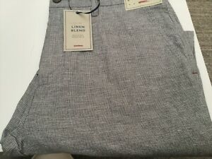 John Lewis & Partners Mooring YD Puppytooth casual Trousers Grey Linen Blend