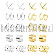 10 Pairs Stainless Steel Ear Cuff Clip On Wrap Cartilage Non-Piercing Earrings