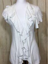 LAUREN Ralph Lauren Ruffle Neck Sleeves & Collar Linen White Sweater Sz L (36B)