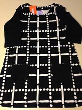 *NWT GYMBOREE* Girls POLAR PINK Black Dots and Dashes Front Pocket Dress Size 4