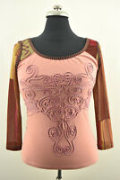 SAVE THE QUEEN Womens Blouse Scoop Neck Pink Casual KniTop Made in Italy Size S